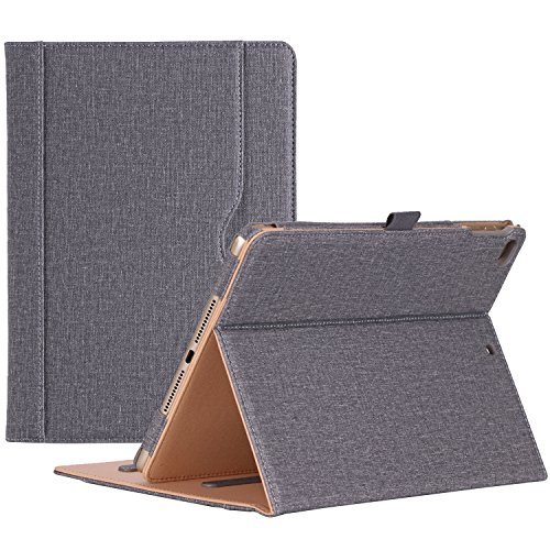 ProCase iPad 9.7 Case 2018 2017 (6th Gen / 5th Gen) / iPad Air 2 / iPad Air Case Cover – Premium PU Leather Stand Folio Case, with Document Pocket Pencil Holder -Grey