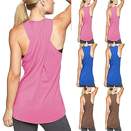 erthome1 Camiseta de tirantes para mujer, deportiva, yoga, sexy, espalda descubierta, suelta, de algodón, de un solo color, de moda, para correr, fitness, running, informal, básica, B-rosa., S