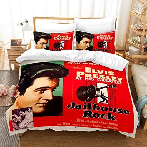 Vscdye Fundas De Almohada Impresas En 3D De Dibujos Animados Juego De Ropa De Cama De Queen King Size Boy Regalo Elvis Presley200X200Cm