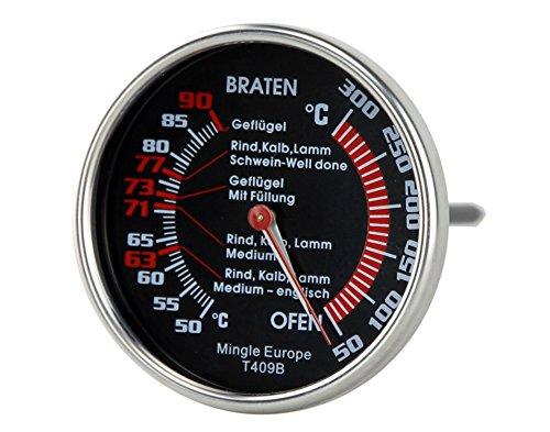 Sunartis Thermometer, Edelstahl mit schwarzer Anzeige