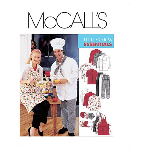 McCall's Patterns M2233 Misses' and Men's Jacket, Shirt, Apron, Pull-On Pants, Neckerchief and Hat, Size SML