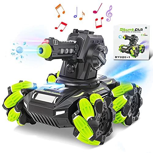 Rc Panzer Ferngesteuertes Auto Mecha 360°drehbar schießen Wasserbomben RC Car mit Musik und LED Leucht 3 Packungen Wasserbomben für Kinder ab 8 Jahre (Orange) (Grün)