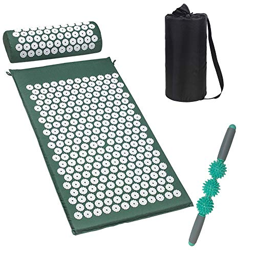 Acupressure Mat and Neck Massgae Pillow Set for Back Pain Relief Massage Stick Pressure Point Muscle Massage Roller Full Body Massager Yoga Acupuncture Mat Cushion for Sciatica Includes Carry Bag