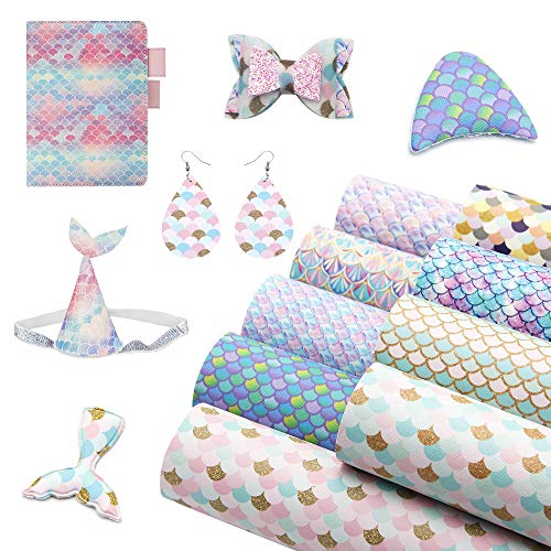 David accessories Mermaid Fish Scale Printed Faux Leather Sheets Synthetic Leather Fabric 9 Pcs 7.7 x 12.9 (20cm x 33cm) Felt Back for DIY Earrings Bows Making (Assort I)