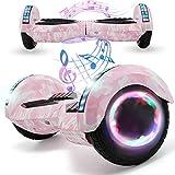 Magic Vida Skateboard Électrique 8 Pouces Bluetooth Puissance 700W avec Deux Barres LED Gyropode Auto-Équilibrage de Bonne qualité pour Enfants et Adult(Rose Camouflage)
