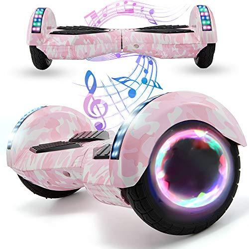 Magic Vida Skateboard Elettrico 8 Pollici Bluetooth con Due Barre LED Monopattini elettrici autobilanciati di buona qualità per Bambini e Adulti(Camouflage Rosa)