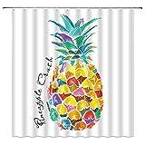 duanyunmei Ananas Duschvorhänge Gelbgrün Fruchtblatt Badezimmer Dekor Zubehör Langlebiger wasserdichter Polyester Stoff 180cm Vorhang