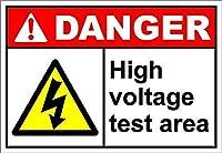高電圧テストエリアの危険 メタルポスタレトロなポスタ安全標識壁パネル ティンサイン注意看板壁掛けプレート警告サイン絵図ショップ食料品ショッピングモールパーキングバークラブカフェレストラントイレ公共の場ギフト