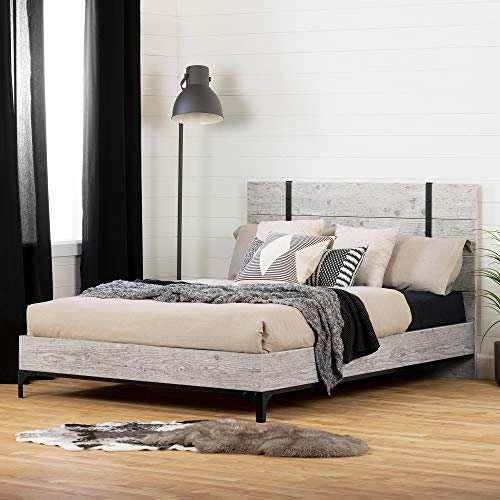 South Shore Valet Platform Bed with headboard-Queen-Seaside Pine and Ebony