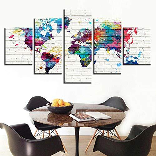 183Tdfc Mapa del Mundo Abstracto Acuarela 5 Piezas Cuadros