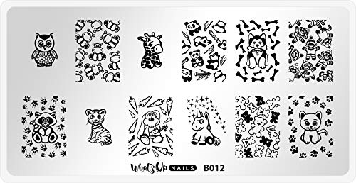 Whats Up Nails - B012 Plushie Pals Stamping Plate for Nail Art Design