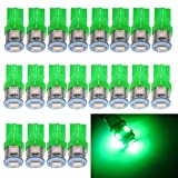 EverBright 20-Pack Green T10 194 168 2825 W5W 5050 5-SMD LED Bulb for Car Replacement Interior Lights Wedge Dome, Trunk, Dashboard Bulb License Plate Light Lamp DC 12V