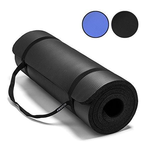 PROIRON Sportmatte Fitnessmatte Gymnastikmatte Pilatesmatte Extra Dicke rutschfest NBR-Material 180cm x 61cm x 15mm mit Tragegurt
