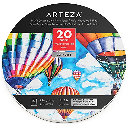 Arteza Watercolor Paper, 7-Inch Diameter, 20 Round Sheets, 140-lb Drawing Pad for Painting and Sketching, Art Supplies for Mixed Media and Watercolor Techniques
