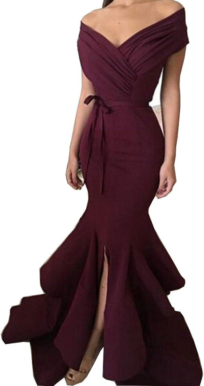 CCBubble Prom Dresses Mermaid 2018 Off Shoulder Split Front Evening Dress