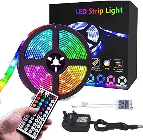 CHOUREN Tira de luz LED con control remoto, 5M tiras de iluminación Kit IP65 impermeable 150leds 5050 RGB 12V adaptador de corriente 44 IR control remoto