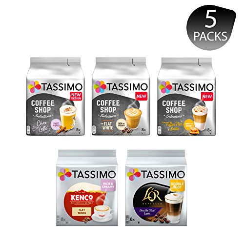 Tassimo Discover Bundle - Coffee Shop Selections Chai Latte/Typ Flat White/Typ Toffee Nut-Latte, Kenco Flat White, L'OR Double Shot Latte - 5 Packungen (40 Portionen)