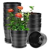 EKKONG 10 Piezas Macetas Plastico,con Diseño en Espiral Tiestos para Plantas,Maceta Bonsai ,Decorativa para Plantas de Plantas de Interior y Oficina Macetas (Negro)