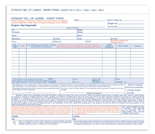 Adams Bill of Lading Short Form, 8.5 X 7.5 Inches, 3-part, 50-forms, White (9013)