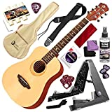 Luna Safari Series Muse Spruce 3/4-Size Travel Acoustic Guitar with Guitar Stand Deluxe Bundle
