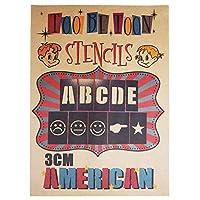 ステンシルシート アルファベット大文字&数字セット AMERICAN (3cm)