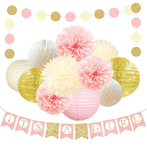 It's A Girl -Baby Shower Decorations for Girl - Its A Girl Banner, Baby Shower (WGW) Banner | Gender Reveal Party Kit Decor, Pink