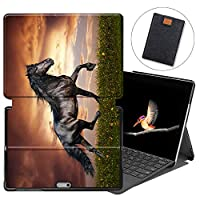 MAITTAO Case for Microsoft Surface Go, Smart Slim Folio Stand Type Cover Keyboard for Surface Go 10 inch 2018 with Built-in Surface Pen Holder & Tablet Sleeve Bag 2 in 1 Bundle, Akhal-Teke Horse 3