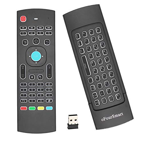 T16+ 2.4GHz Air Fly Remote Mouse Combo Remote Controller with 7 Color Backlight Touchpad Built-in 3-Gyro 3-Gsensor Perfect for Android TV Box, Smart TV, Projector, HTPC, IPTV, PC, Pad by oFourSmart