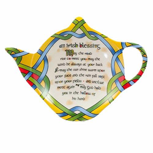 Irisch Teebeutelhalter   Teebeutelablage aus Keramik mit Irischer Segen und Irisches Webmuster Design   Tellerchen für Teebeutel von Royal Tara