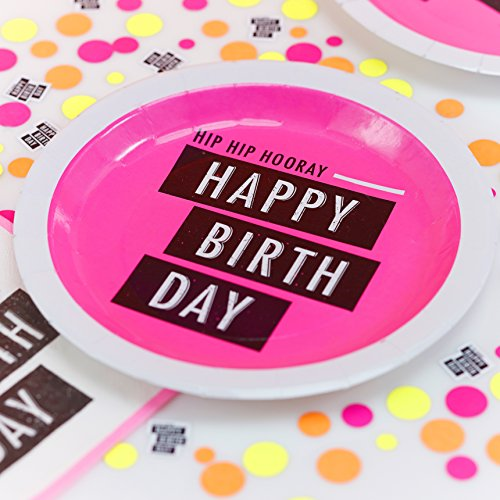 Ginger Ray Neon Pink Fluorescent Happy Birthday Paper Party Plates