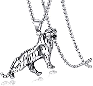 Xusamss Punk Stainless Steel Animal Tiger Pendant Necklace,24inches Square Box Chain