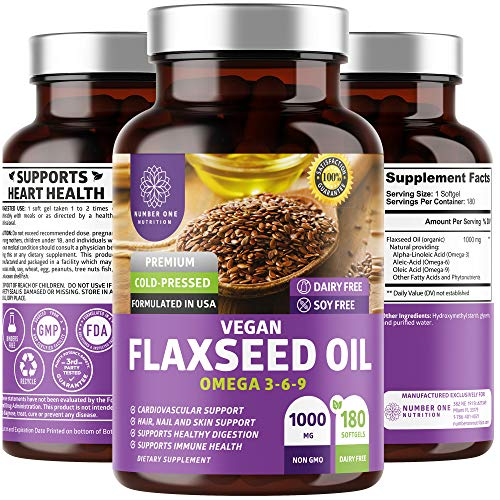 N1N Premium Vegan Flaxseed Oil Softgels [Max Strength] All Natural with Omega 3-6-9 to Boost Body's Natural Defenses, Support Cardiovascular Health and Nourish Skin, Nails & Hair, 180 Softgels