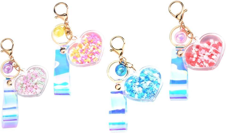 ABOOFAN 4pcs Heart Pendant Keychain Crystal Enamel Glittery Love Star Charms Keyring Bag Hanging Pendants Jewelry for Christmas Birthday Boyfriend Girlfriend Gifts (Random Style)