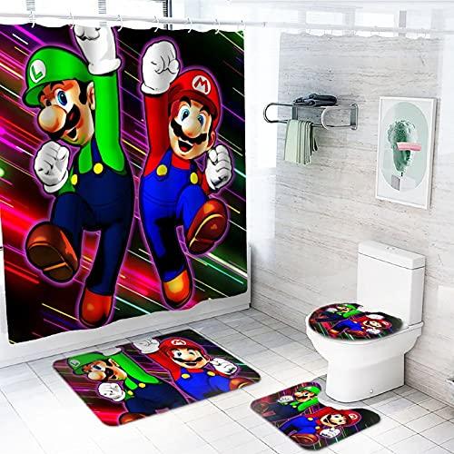 LvMinYi Su-per Ma-Rio Duschvorhang-Sets mit rutschfesten Teppichen, 180,1 x 180,1 cm, WC-Deckelbezug und Badematte, Anime wasserdichter Duschvorhang mit 12 Haken