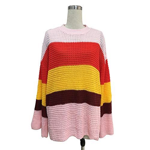 Vrouwen Trui, Dames Lange Mouw Losse Bovenkleding Regenboog Gestreepte Oversized Knit Sweater Mode Merken Jumper Sweatshirt met Trompet Mouw Herfst Winter Dagelijks Winkelen
