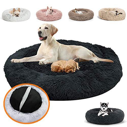 JRUI Orthopädisches Hundebett für Grosse Hunde & Extra Große Hunde, kuscheliges Hundekissen Donut plüsch Hundesofa hundekörbchen Flauschig Waschbar - Schwarz 120cm