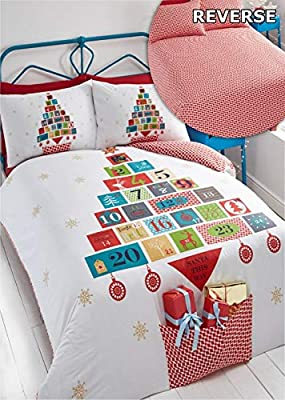 Advent Christmas Duvet Cover and Pillowcase Set, White
