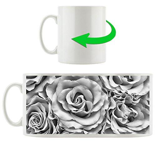 Monocrome, fleurs flux Ewers Roses mer Jaune Fleurs, Motif tasse en blanc 300ml céramique, Grande idée de cadeau pour toute occasion. Votre nouvelle tasse préférée pour le café, le thé et des boissons chaudes