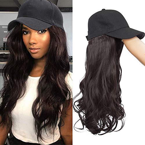 TESS Extensions wie Echthaar Dunkelbraun Haarteile mit Schwarz Baseball Cap Lang Gewellt Synthetische Haare für Damen komplette Haarverlängerung günstig 16
