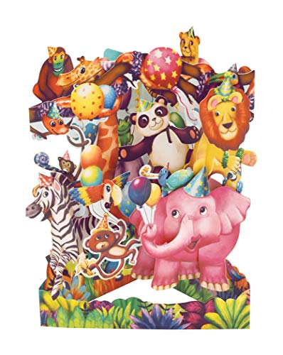 Animal Party Swing Card - Santoro 3D Pop-Up Greetings and Birthday Card for Kids