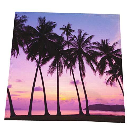 Ye Hua Tropischer Sonnenuntergang über dem Meer mit Palmen, Thailand Tischsets Tischsets Hitzebeständige rutschfeste Küchen-Tischsets zum Essen Waschbar Leicht zu reinigen 2er-Set