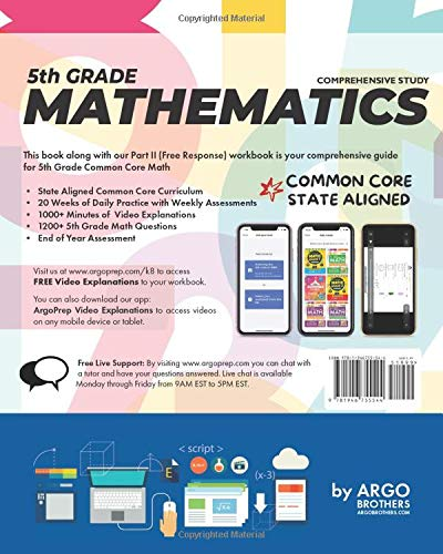 5th Grade Common Core Math: Daily Practice Workbook - Part I: Multiple Choice | 1000+ Practice Questions and Video Explanations | Argo Brothers (Common Core Math by ArgoPrep)