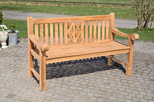CLP Teak-Gartenbank Florida mit ergonomischer Sitzfläche | Sitzbank aus Vollholz mit Einer Sitzhöhe von: 44 cm | In verschiedenen Größen erhältlich 150 cm, Teak