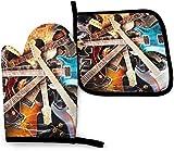 Wfispiy Musi Guitar Pigeon Oven Mitts Y Pot Sostenedores De Cocina Juego De Cocina Resistente Al Calor Hornear BBQ Mitones