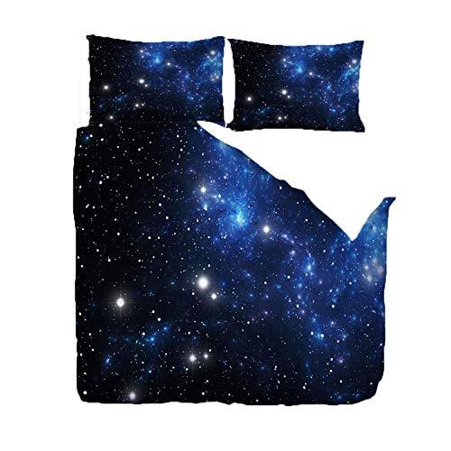 Bedding Set Copripiumino Universo Stellato Blu 3D Stampa Bedding Comforter Copre con Chiusura a Cerniera Adatto a Bambini Adulti Camera da Letto King 220x240 cm