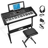 Moukey Kit de Teclado Piano Electrico 61 Teclas, MEK-200 Piano Digital Electrónico para Principiantes con Soporte de Teclado de Piano/Banco/Auriculares/Pegatinas de Música, Función de Aprendizaje