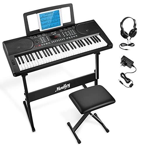 Moukey 61 Tasto Tastiera Musicale di Pianoforte, Portatile Elettronica Pianola con Stand pianoforte Panchina Leggio per spartiti Digitale Pianoforte Nota Adesivi per Principianti, MEK-200