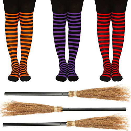 3 Stücke Halloween Hexe Besen Hexe Besenstiel Zauberer Fliegender Besenstiel Kostüm Cosplay Besen Requisiten mit 3 Paar Hexe Gestreifte Strumpfhose für Halloween Party Cosplay