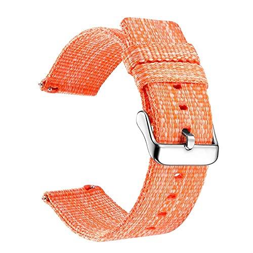 Wamkband 20 18 22 24mm Banda De Nylon Para Samsung Galaxy 46 42mm Watch 3 Gear S3 Active 2 Frontier Muñeca Sport Woven Para Hua Watch A 1033 (Band Color : Orange, Band Width : 22mm)