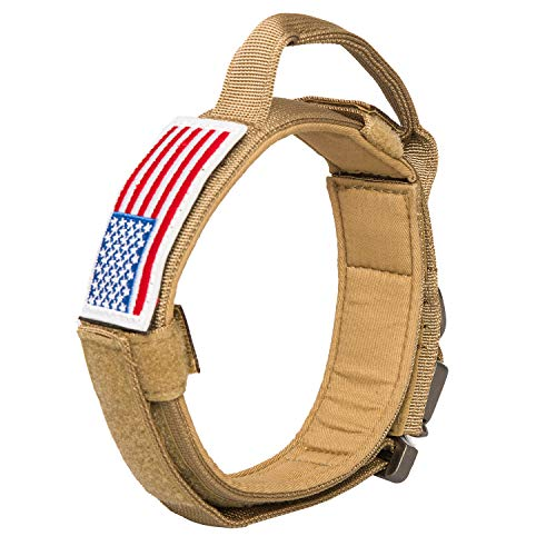 Tactical Dog Collar with USA American Flag, Adjustable Military Dog Collars Thick with Handle K9 Nylon Heavy Duty Metal Buckle for Medium Large Canine Training (Brown, Medium)